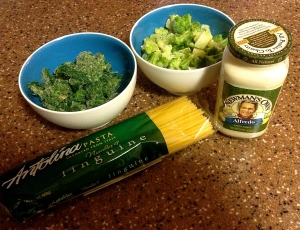 Ingredients for Spinach and Broccoli Alfredo